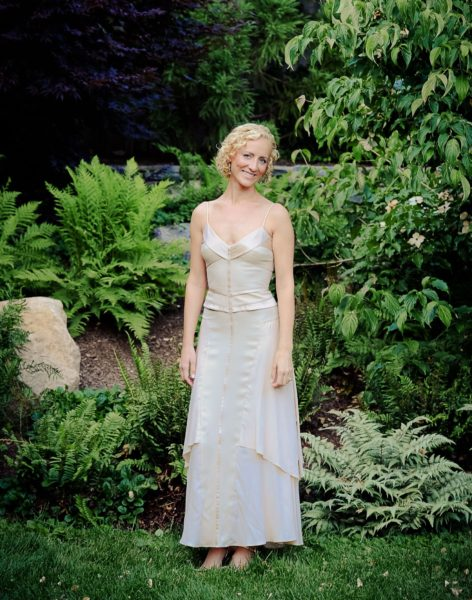 In the Narciso Rodriguez gown my mother wore to marry my stepfather, John. On her, it was floor-length with a train! (Photo: Kristen Somody Whalen)