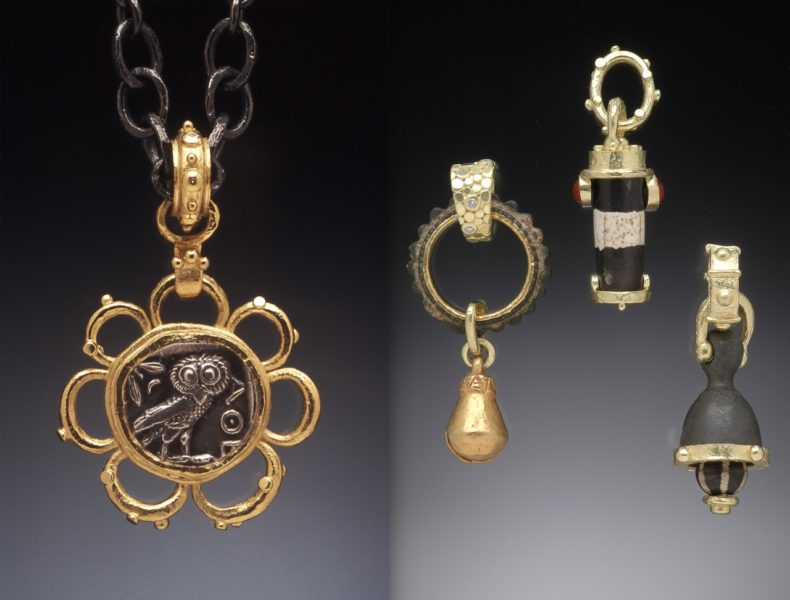 Pendants: ancient Greek coin (circa 430 BC) set in 18K flower setting with detachable gold bale; bronze bridle ring with pre-Columbian bell and diamonds; Tibetan Chung Dzi bead with Mexican jelly opals; Thames river bell with Tibetan Chung Dzi bead