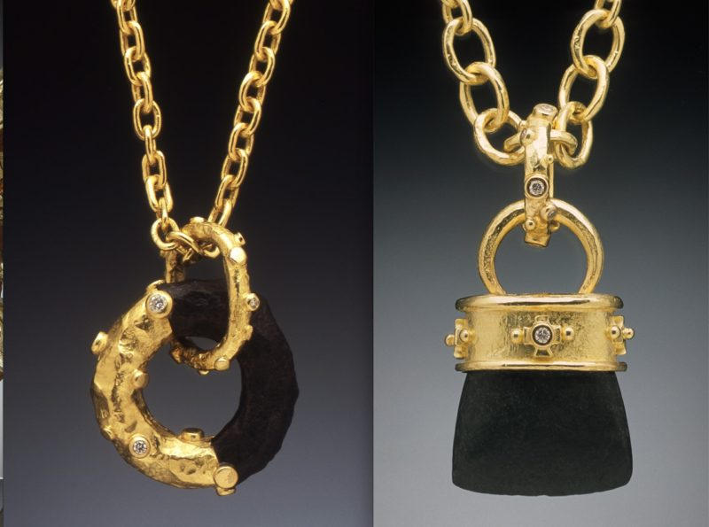 Gold-dipped Charles river link with diamonds on hang-forged chain; ceremonial Celtic axehead with diamonds on hand-forged chain