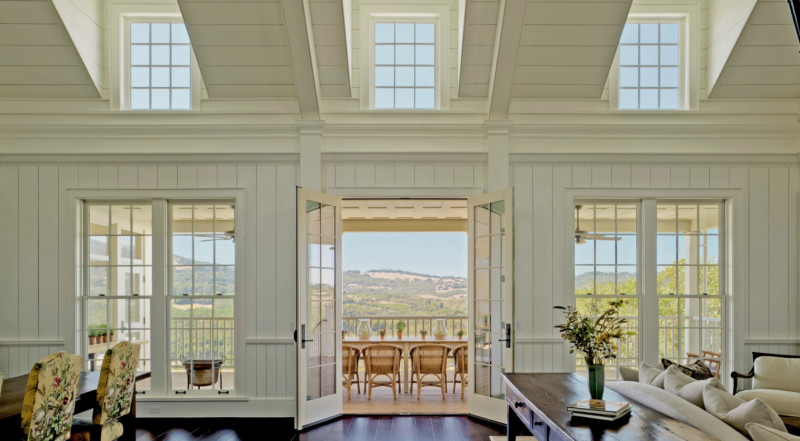 I love the texture of walls and ceiling in this light-filled common room. The view's not too bad either. Photo and design: John Malick & Associates