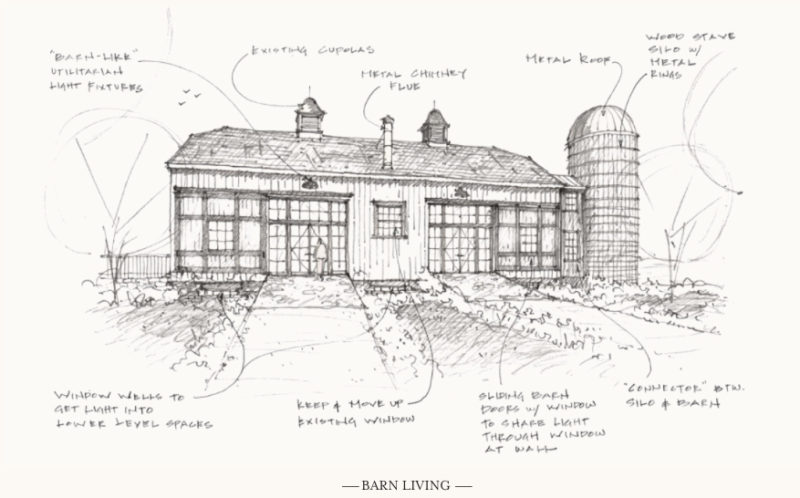 A draft of the Hurricane barn, by Historical Concepts. The silo would contain the stairs to the loft and lower level.