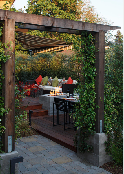 Near San Francisco, an outdoor room framed by awning, trellis, and fire. Amy Alper Architects, on Houzz.com.