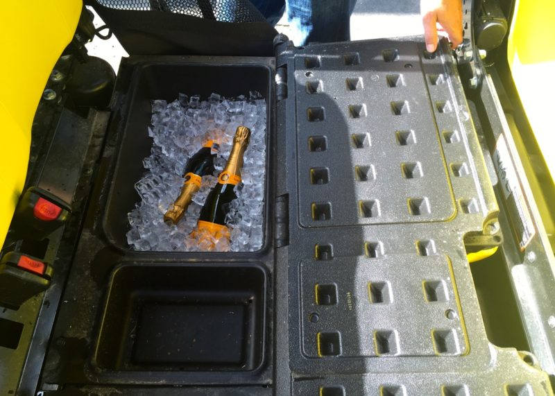 Gator's under-seat cooler ready to go