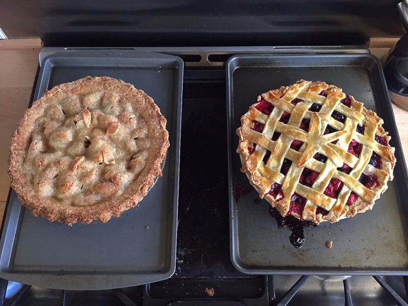 Two b-day pies: Apple of Her Eye and raspberry-blueberry-strawberry